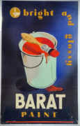 Devendra K. Raje (India/Canada Active 1950-1980's) Bright and Glossy. Barat Paint. Original advertising design