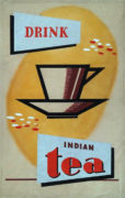 Devendra K. Raje (India/Canada Active 1950-1980's) Drink Indian Tea. Original advertising design