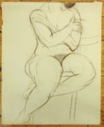 Isabel McLaughlin CM, O.Ont, CGP, Hon. CPA (Canadian 1903-2002) Seated Female Nude