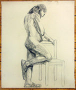 Isabel McLaughlin CM, O.Ont, CGP, Hon. CPA (Canadian 1903-2002) Standing Nude with Chair