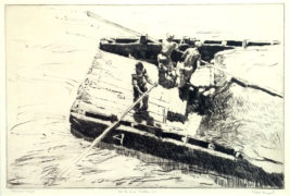Men and Cargo Drypoint Etching Philip B. Kappel, S. A. E.