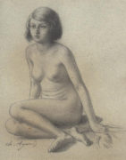 FEMALE NUDE Charles, J. AGARD (French 1866-1950)